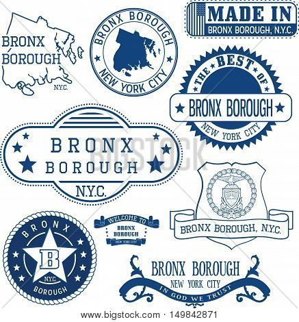 Generic Stamps And Signs Of Bronx Borough, Nyc