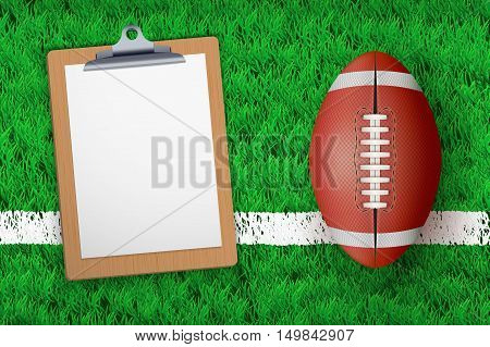 Stadium grass field with Coaching blank clipboard and football ball. Closeup For various sport background. Editable Vector illustration Isolated on background.