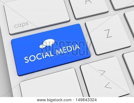 social media keyboard 3d illustration isolated on white background
