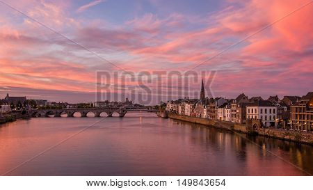 Sunset over the Maas river in Maastricht