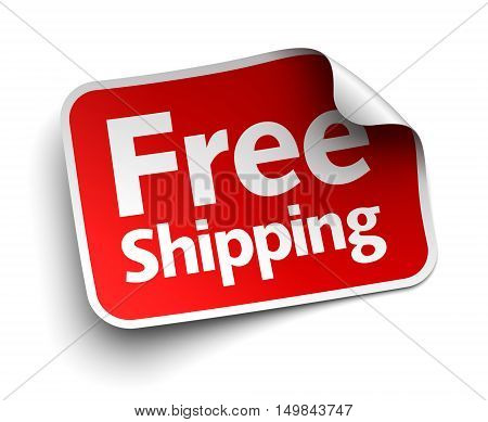 free shipping label 3d illustration isolated on white background