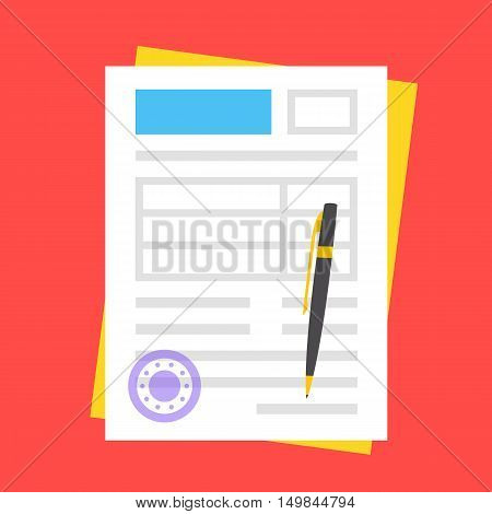 Vector form, round stamp and pen. Filling documents concept