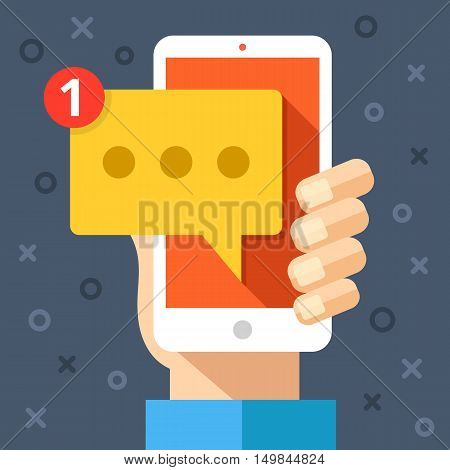 Hand holding smartphone with new message on screen. Chat, tweet, instant messaging, sms, mobile messenger concepts for web sites, web banners, printed materials. Modern flat design vector illustration