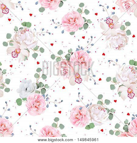 Romantic bouquets of rose peony camellia orchid anemone camellia blue berries and eucaliptis leaves. Seamless vector print with pink dots and red hearts.