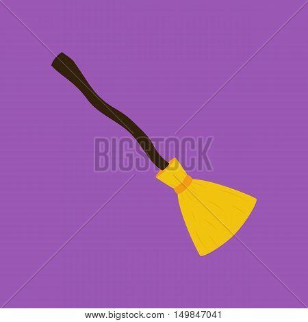 Broom illustration. Witch broom. Halloween decoration vector illustration