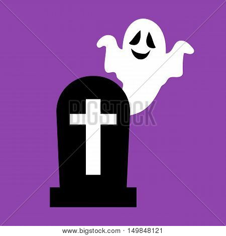 Headstone and ghost on the purple background. Vector illustration