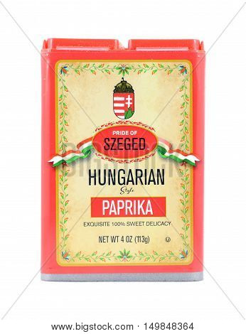 NEW YORK NY - OCTOBER 1st 2016: Pride of Szeged Hungarian Sweet Paprika in tin spice canister