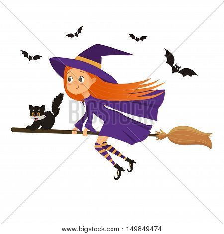 Halloween holiday. Cute little girl witch with a kitten flying on a broom. Cartoon halloween illustration on a white background