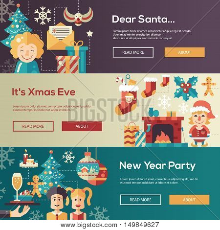 Christmas flat design modern vector website banners illustrations set. Dear Santa, Xmas Eve, New Year Party