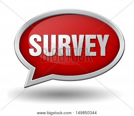 survey badge 3d illustration isolated on white  background