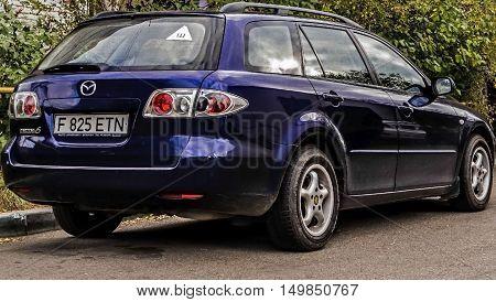Kazakhstan, Ust-Kamenogorsk, october 3, 2016: Mazda 6, blue car, new japanese car in the street, combi