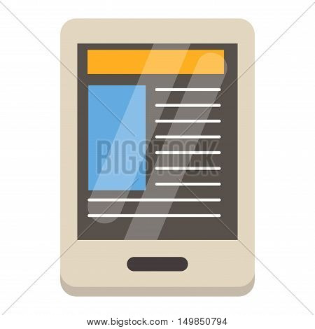 Mobile reading eBook and literature library concept book with text in tablet computer. EBook touchscreen smartphone isolated on white background. Education internet library tablet eBook vector.