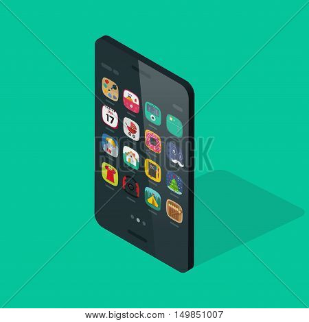 Smartphone isometric vector isolated on colorful background, future slim mobile phone with app icons on display, modern thin 3d cellular smart phone device flat cartoon style