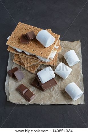 Fresh Homemade Smores With Marshmallows, Chocolate And Graham Crackers