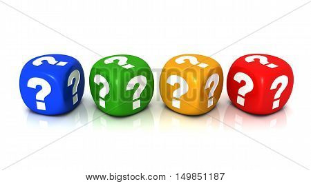 question cubes 3d illustration isolated on white background