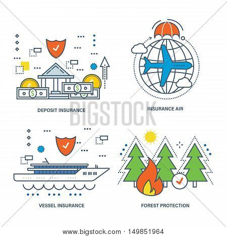 The kit contains illustrations on the theme of insurance and types of insurance, protection of forests and the environment. Vector illustrations can be used in banners, brochures.
