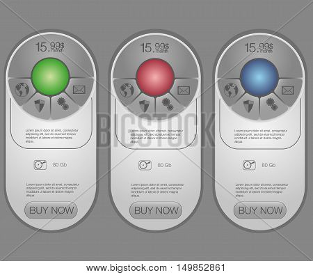 Three tariffs banners. Web pricing table. Vector design for web app. Set tariffs. Plan for website in flat design. Web elements.