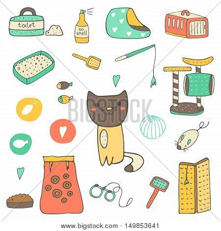 Cute hand drawn doodle cat stuff objects including cage mice toy ball toilet bed playground food brush leash fish no smell spray scratching post Kitten objects icon
