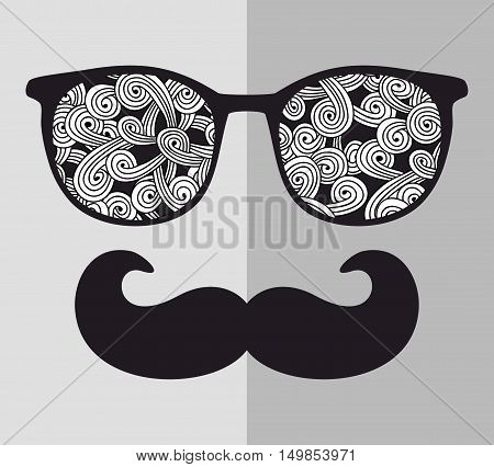 Abstract portrait of man in sunglasses and with moustache. Vintage print in vector.