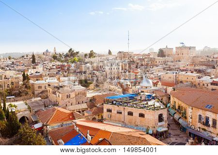 Old City of Jerusalem with the aerial view. View of the Dormition Abbey, Israel.