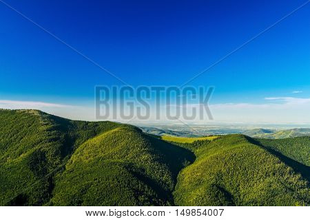 Breathtaking landscape of Ukrainian Carpathian mountains. Copy space.