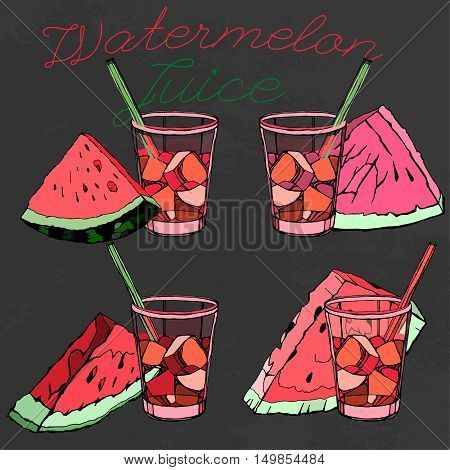 Watermelon juice collection. Beautiful hand drawn vector illustrations on a textured background. Unique artistic concept