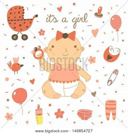Cute hand drawn doodle baby shower cover card. It's a girl lettering postcard with baby girl milk bottle bow balloon bird flowers hearts pin baby stroller nipple bib sliders rattle
