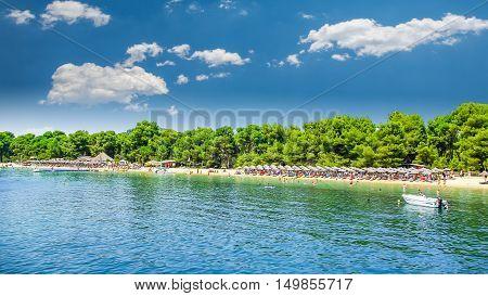 Koukounaries Beach, Skiathos Island, Greece. It is one of the best Greek beaches.