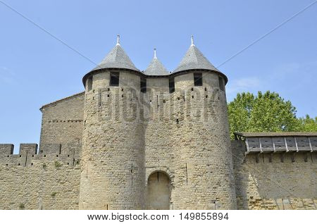 Carcassonne medieval walled city in France Europe