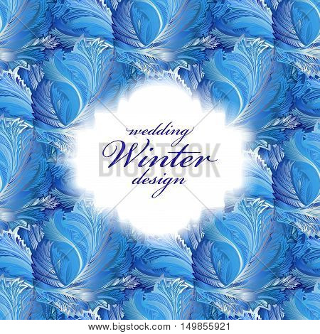 Label with text place and frozen glass decor pattern. Winter holyday blue frost background. White design banner with snow hoar frost ice for winter holiday template. Vector illustration stock vector.