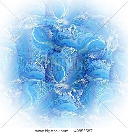 Circle frame with window frost ornament. Frozen glass decor. Winter holyday background. Blue, cyan, white snow hoar frost ice background for winter holiday template. Vector illustration stock vector.