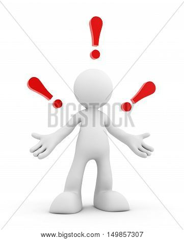 exclamation point and man 3d illustration isolated on white background