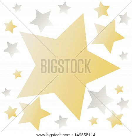 Background with golden and gray stars on white. For stars decorative banner designs. Vector illustration stock vector.