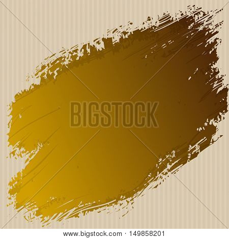 Golden ink spot on the cardboard grunge cardboard texture background. Gold ink splash vector design abstract background template. Vector illustration stock vector.