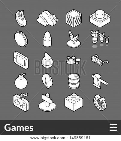 Isometric outline icons, 3D pictograms vector set - Games symbol collection