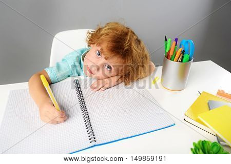 childhood and learning concept, child writing in notebook