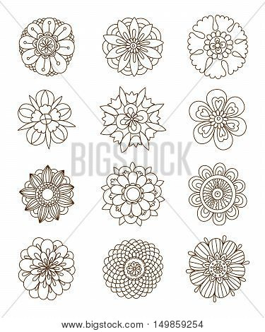 Henna tattoo flower template Hand-Drawn Henna Flowers Mehndi Doodles