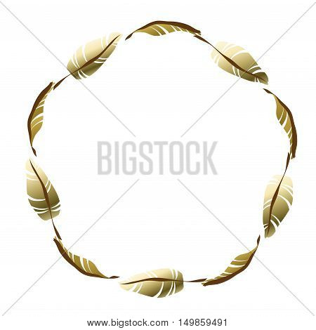 Feather gold circle frame for greeting card, invitation, wedding invitation designs. Round wreath with golden leaves with text place. Vector illustration stock vector.