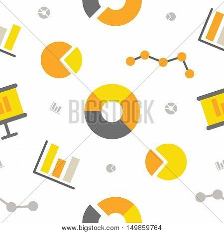 Financial Chart Seamless Pattern with Business Graph. Vector background