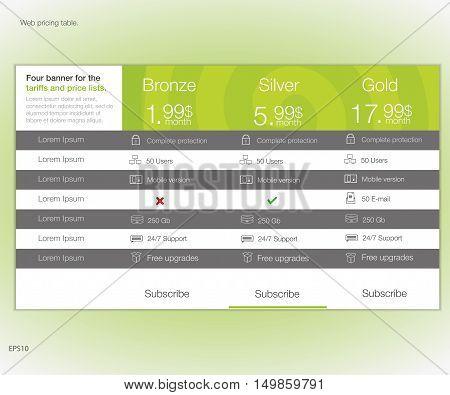 Web pricing table. Vector design for web app. Set offer tariffs. Price list.