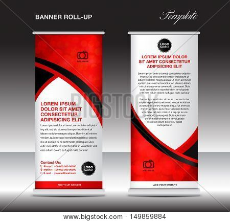 Red roll up banner template, stand template, stand design, banner design, pull up, advertisement, display template, flyer design