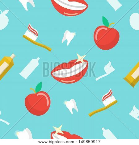 Healthy Teeth Dental Seamless Pattern with Smile and ToothPaste. Vector background