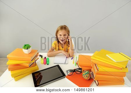 school and homework concept, exited kid with copy space