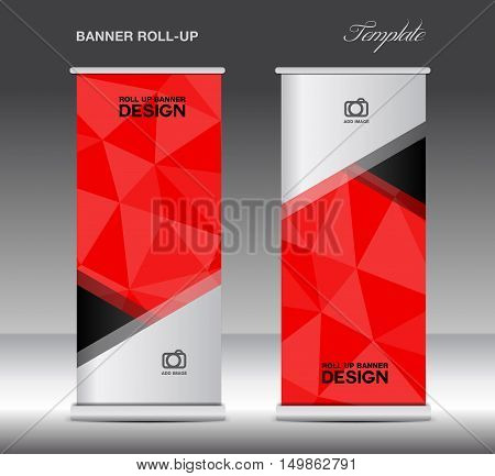Red Roll Up Banner template vecto, stand layout, display, advertisement, flyer design, polygon background