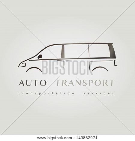 Template of identity for Car Company. Logo for Company. Vector illustration. Minivan flat logo.