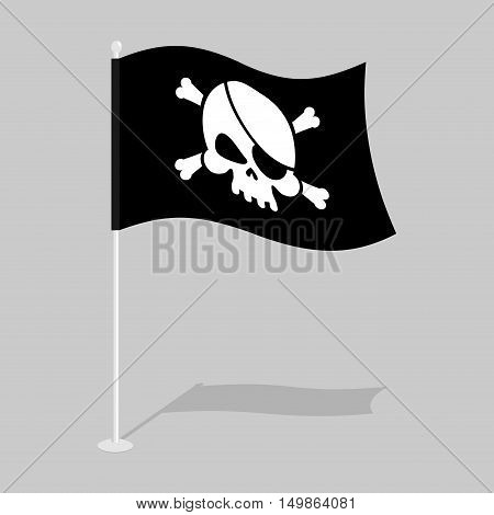 Jolly Roger. Pirate flag. Skull And Bones. Skeleton Head. Growing Black Banner. Sign Filibusters