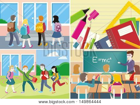 Back to school banner set. Teacher near blackboard in classroom. School supplies, notebooks, pencils, pens. Group of students near the school. Learning process in classroom.