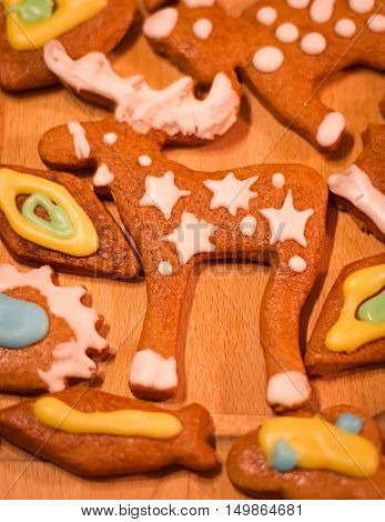 Gingerbread colorful decorated cookies - Christmas moose, fish