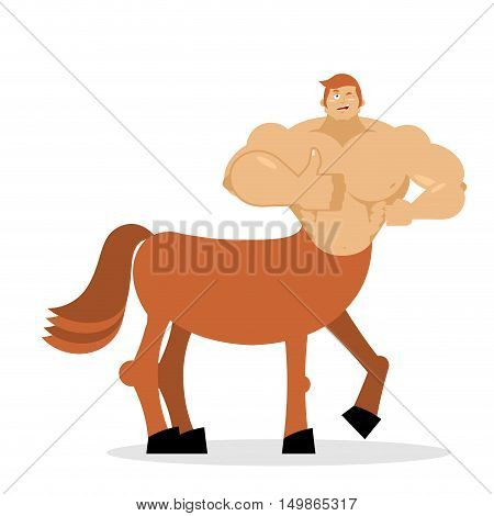 Cheerful Young Centaur Mythical Creature. Half Horse Half Person. Sports Creature. Fairy-tale Charac