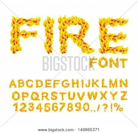 Fire font. Burning ABC. Flame Alphabet. Fiery letters. Hot typography. blaze lettring poster